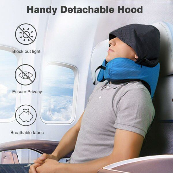 Airplane Travel Foldable Neck Support Pillow with Hood